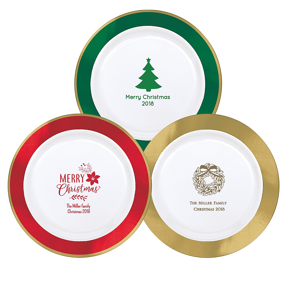 Personalized Christmas Premium Round Trimmed Dinner Plates Image #1