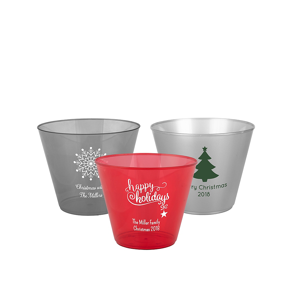 Personalized Christmas Hard Plastic Color Cups 9oz Image #1