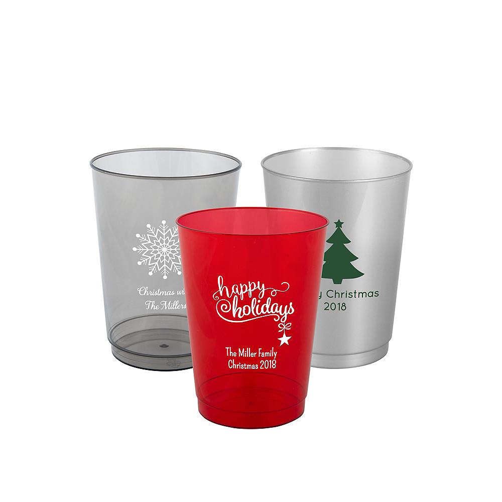 Personalized Christmas Hard Plastic Color Cups 10oz Image #1