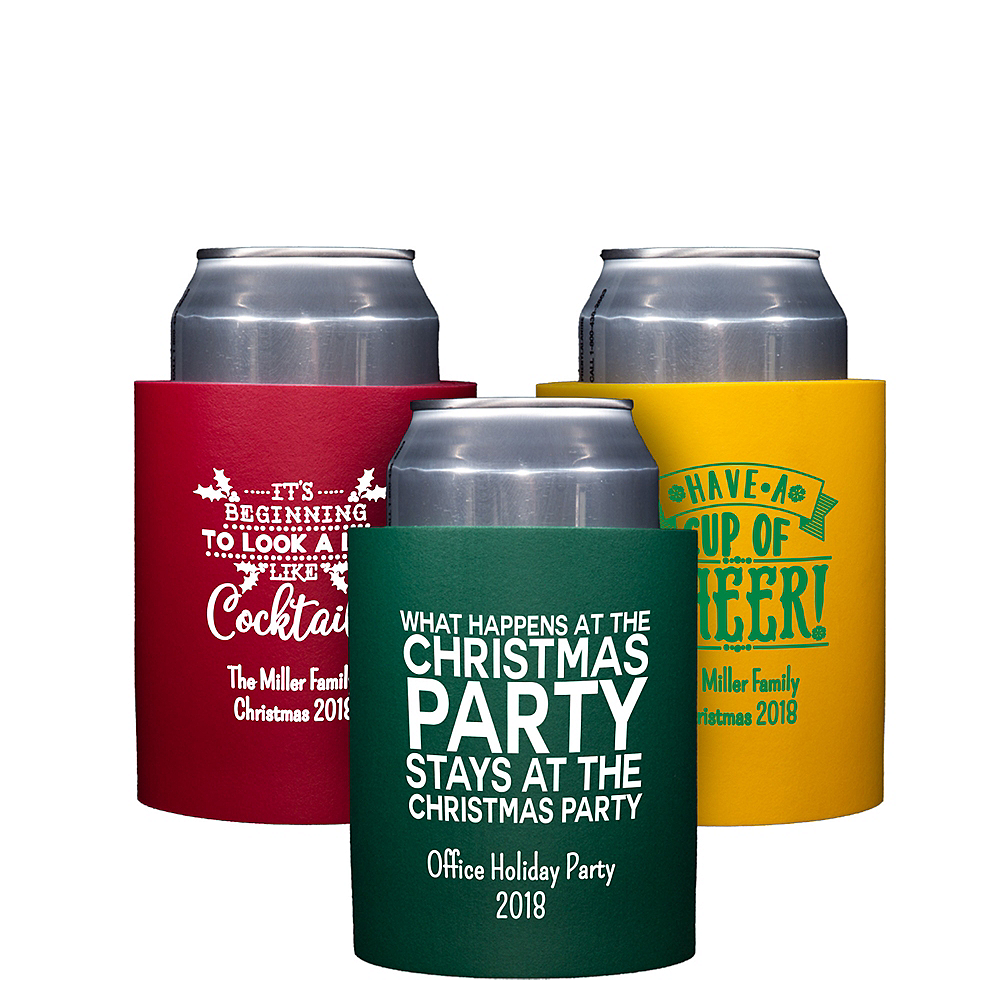 Personalized Christmas Can Coozies Image #1
