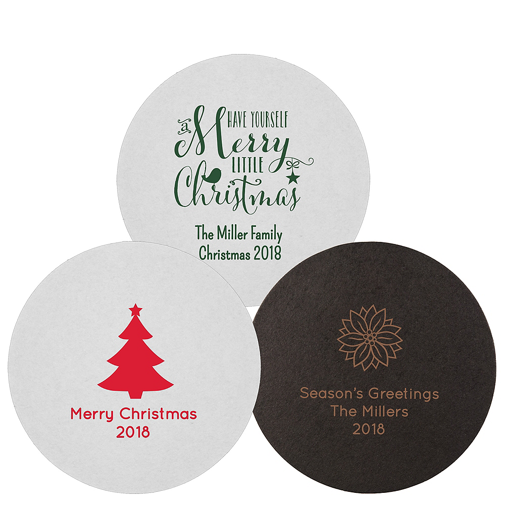 Personalized Christmas 40pt Round Coasters Image #1