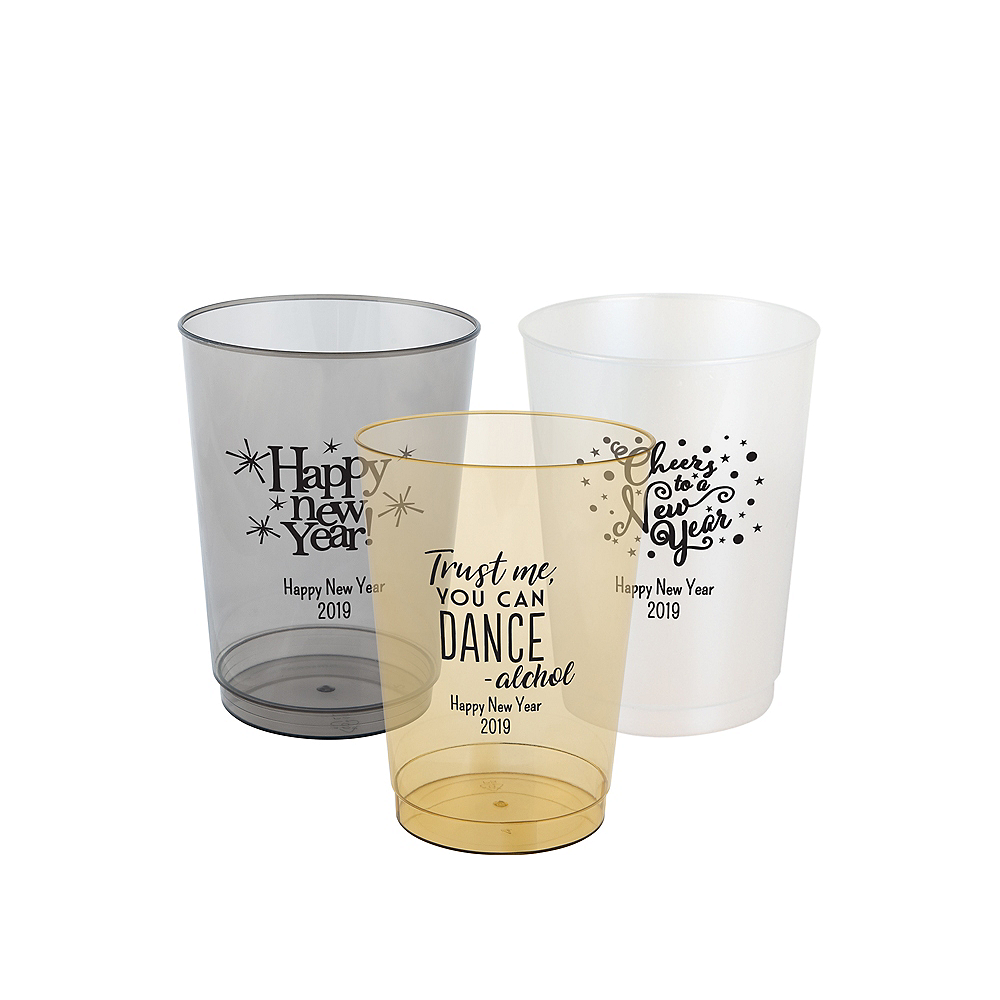 Personalized New Year's Hard Plastic Color Cups 10oz Image #1