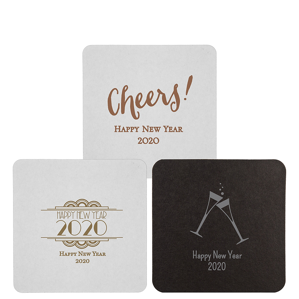 Personalized New Year's 40pt Square Coasters Image #1