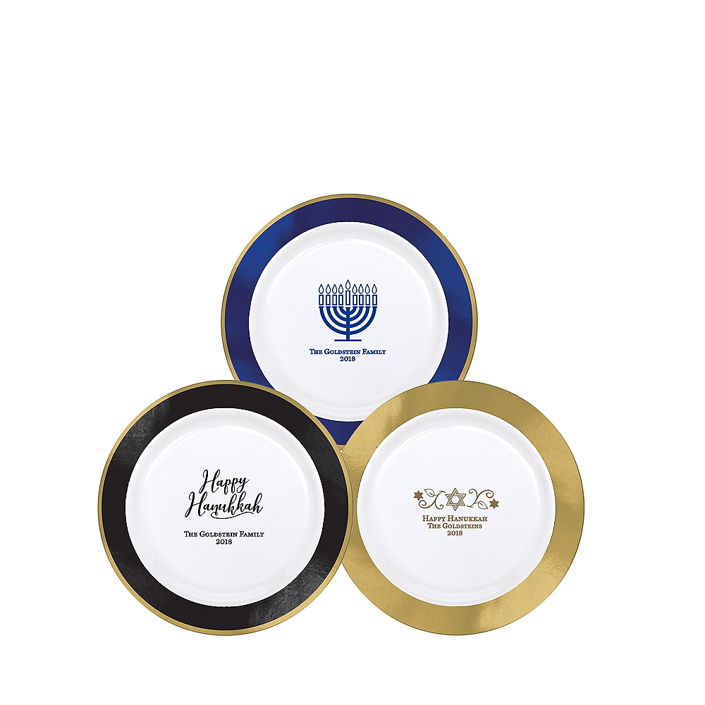 Personalized Hanukkah Premium Round Trimmed Dessert Plates Image #1