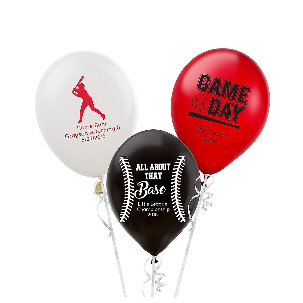 Personalized Baseball Latex Small Balloon Image #1