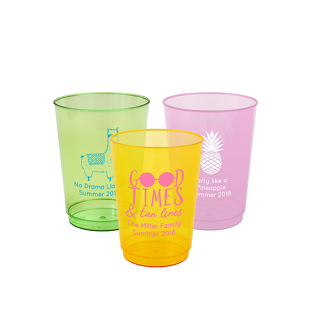 Personalized Summer Hard Plastic Color Cups 10oz Image #1