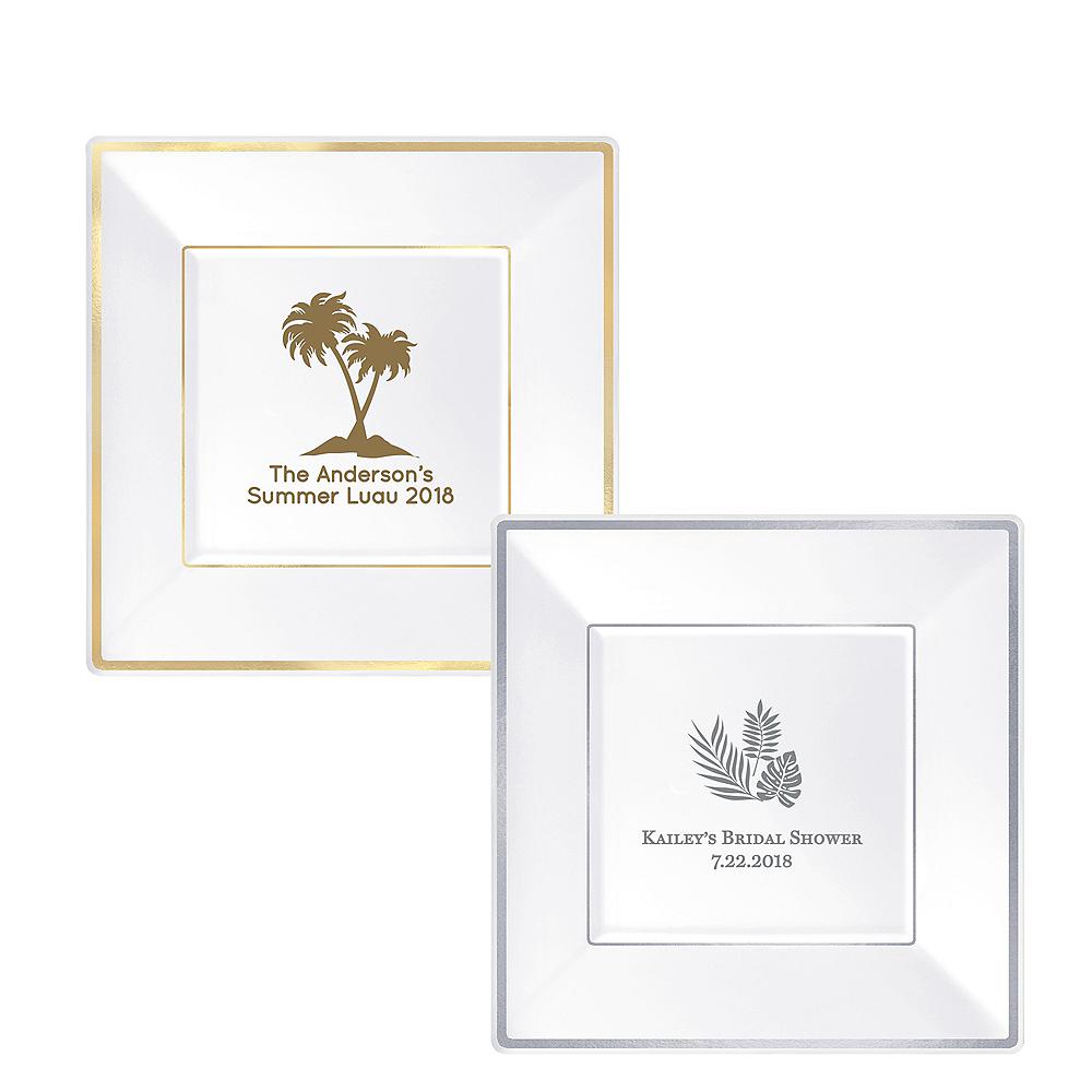 Personalized Luau Premium Square Trimmed Dinner Plates Image #1