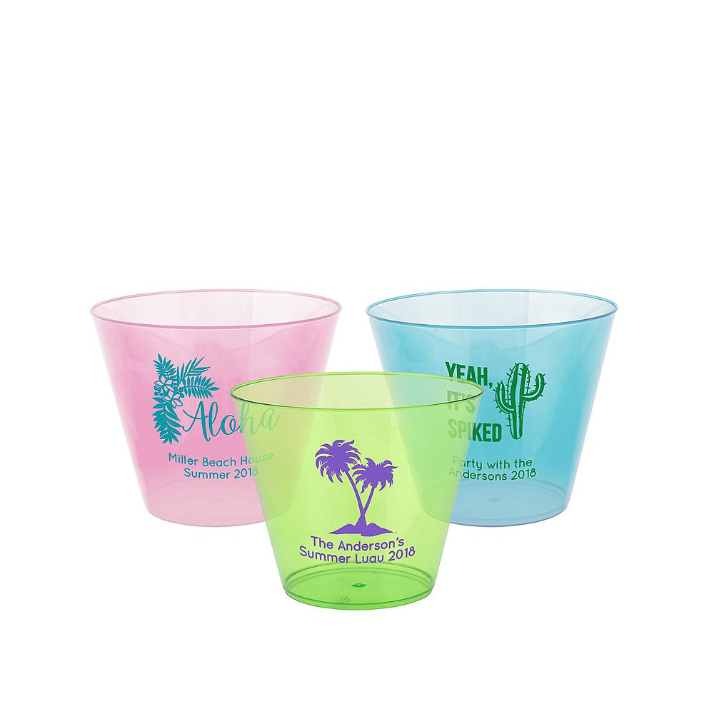 Personalized Luau Hard Plastic Color Cups 9oz Image #1