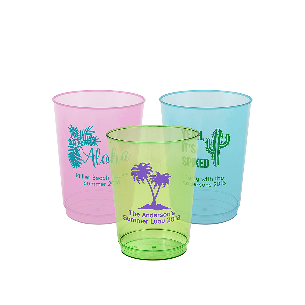 Nav Item for Personalized Luau Hard Plastic Color Cups 10oz Image #1