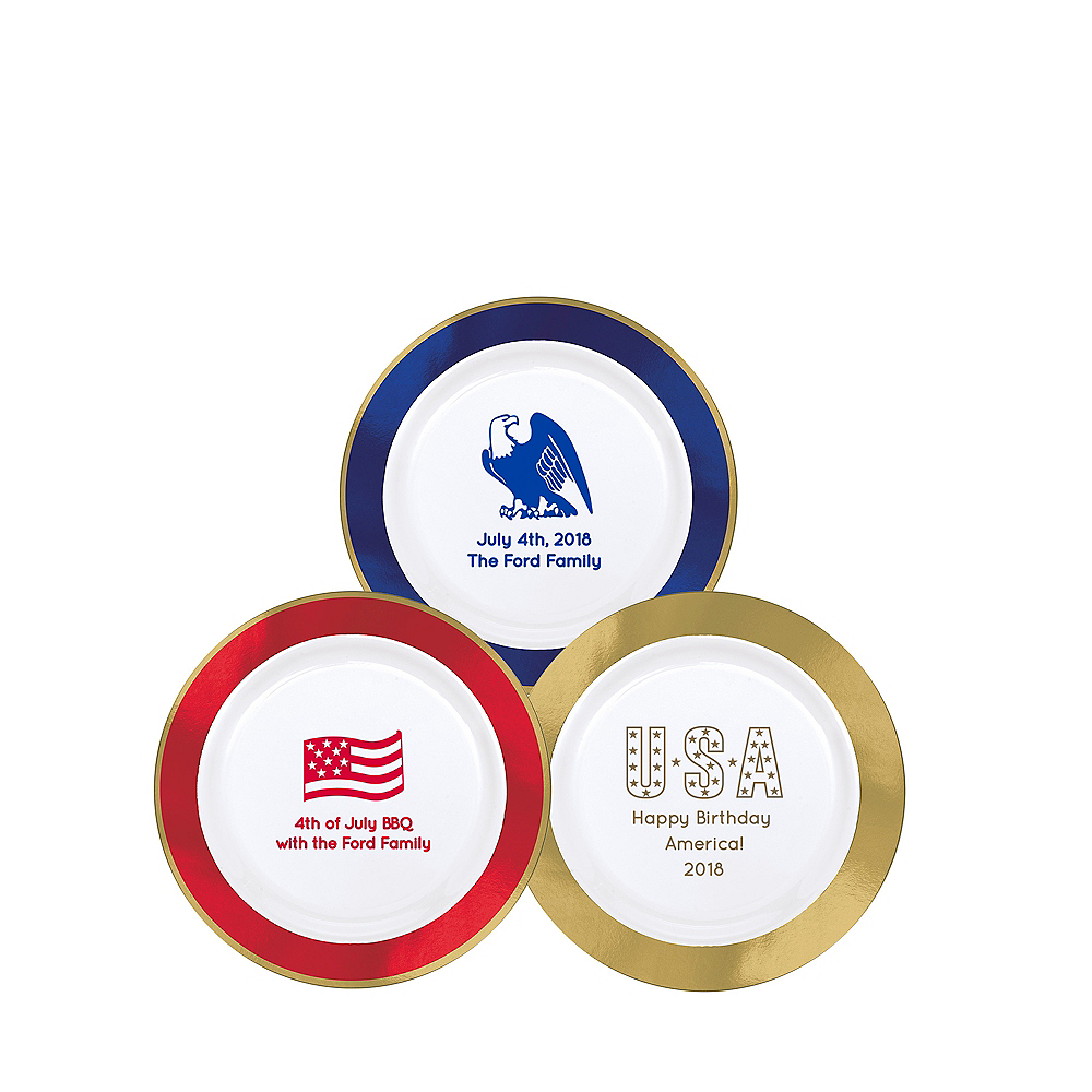 Personalized 4th of July Premium Round Trimmed Dessert Plates Image #1