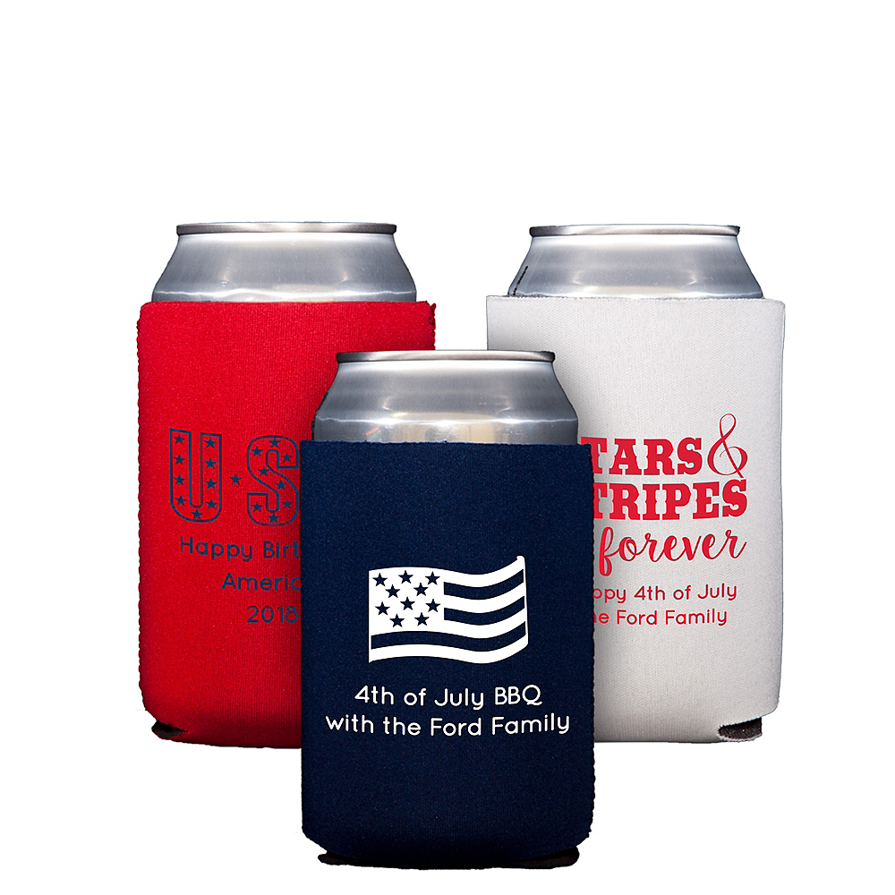 Personalized 4th of July Collapsible Can Coozies Image #1