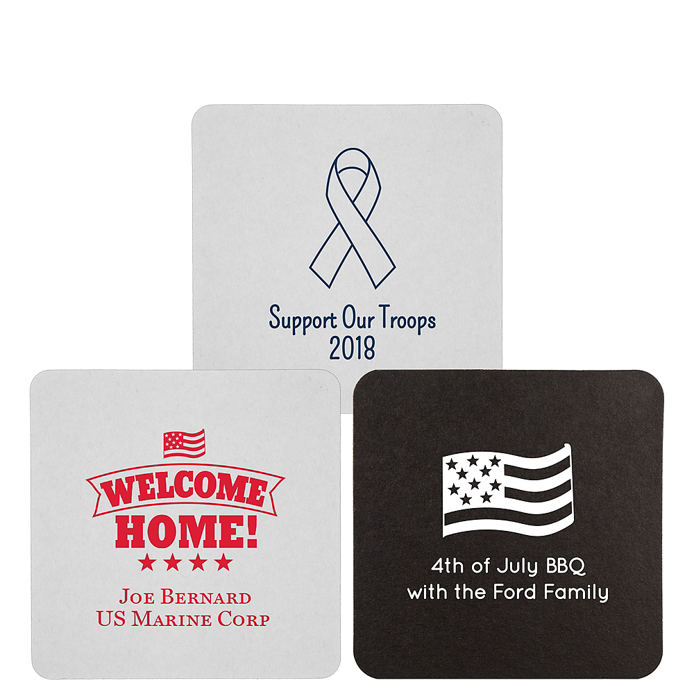 Personalized 4th of July 40pt Square Coasters Image #1