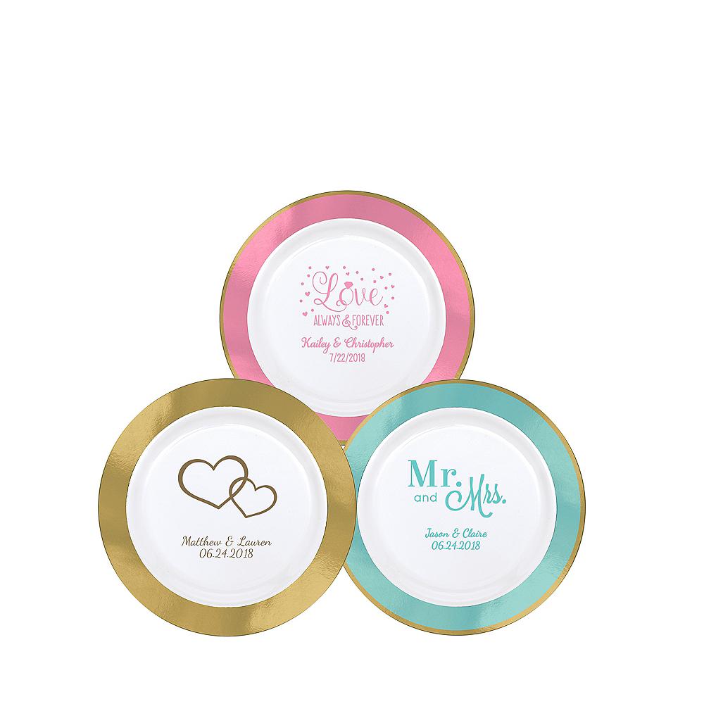 Personalized Wedding Premium Round Trimmed Dessert Plates Image #1