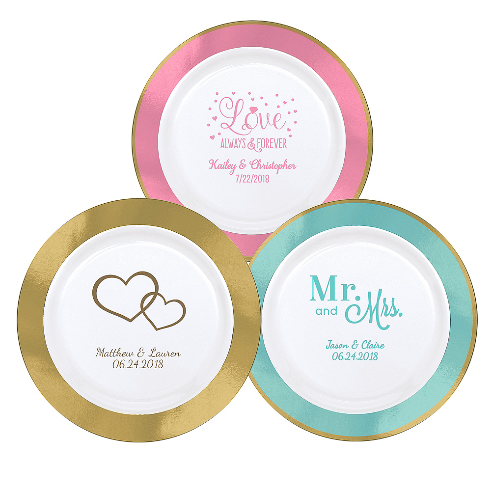 Personalized Wedding Premium Round Trimmed Dinner Plates Image #1