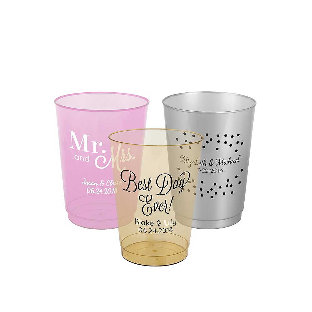 Personalized Wedding Hard Plastic Color Cups 10oz Image #1