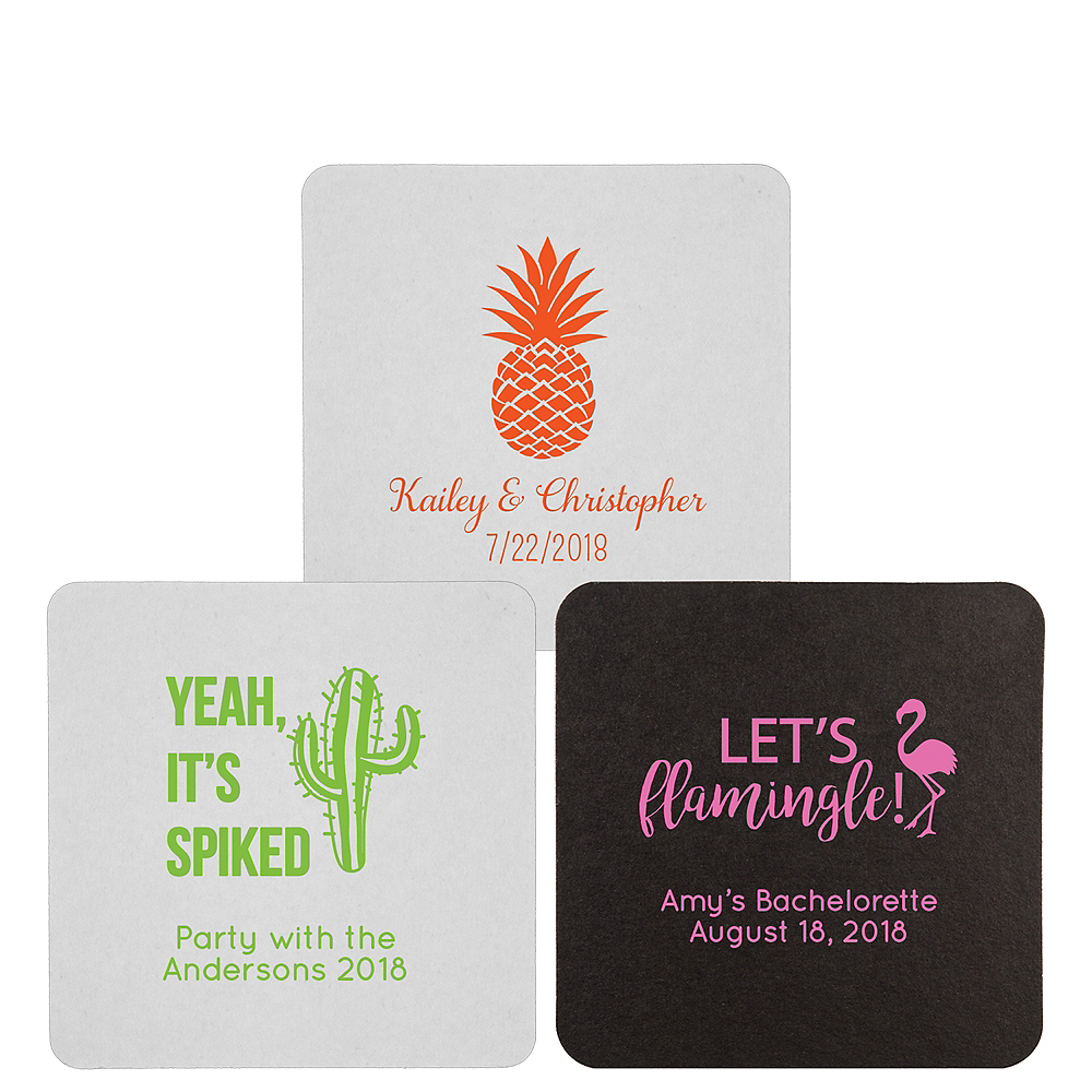 Personalized Wedding 40pt Square Coasters Image #1