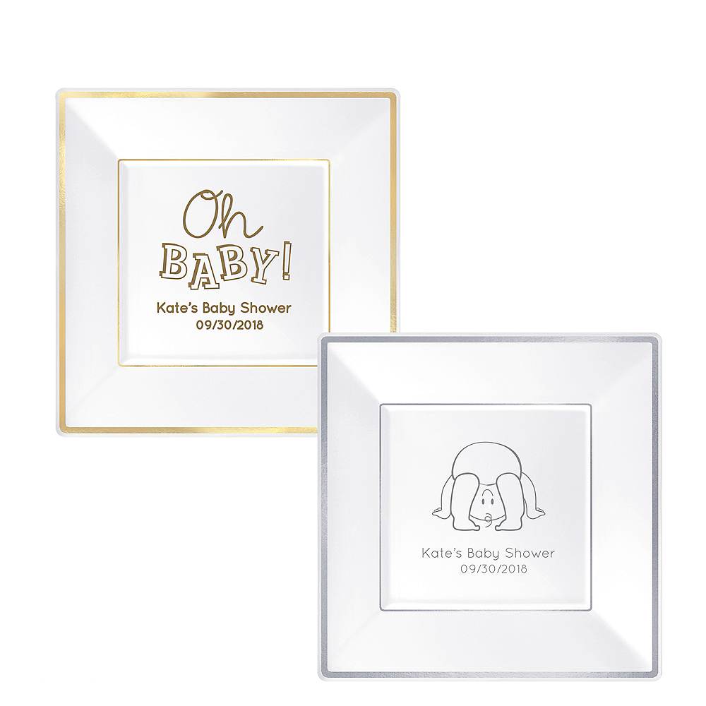 Personalized Baby Premium Square Trimmed Dinner Plates Image #1