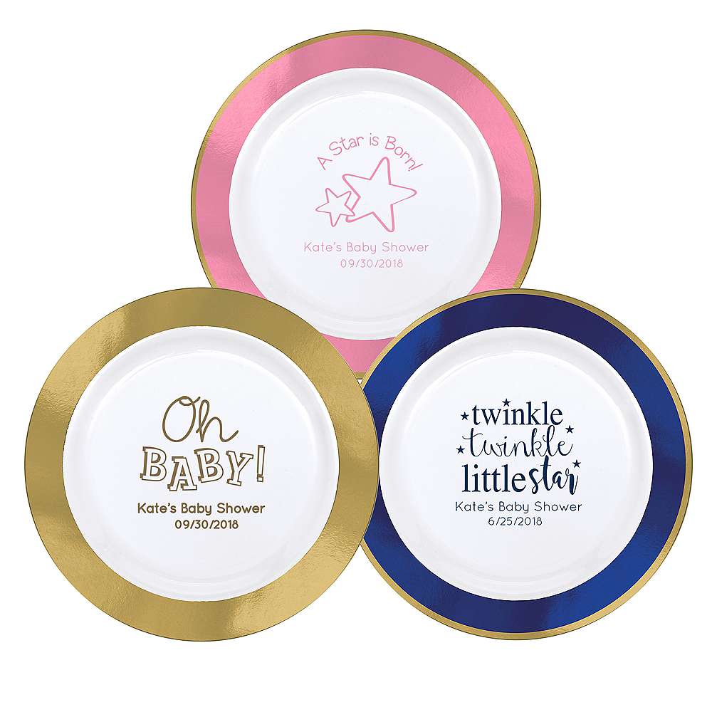 Personalized Baby Premium Round Trimmed Dinner Plates Image #1
