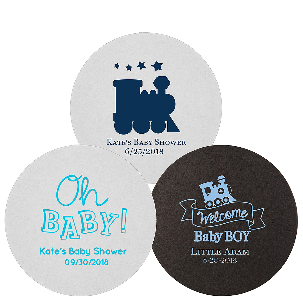 Personalized Baby Shower 40pt Round Coasters Image #1