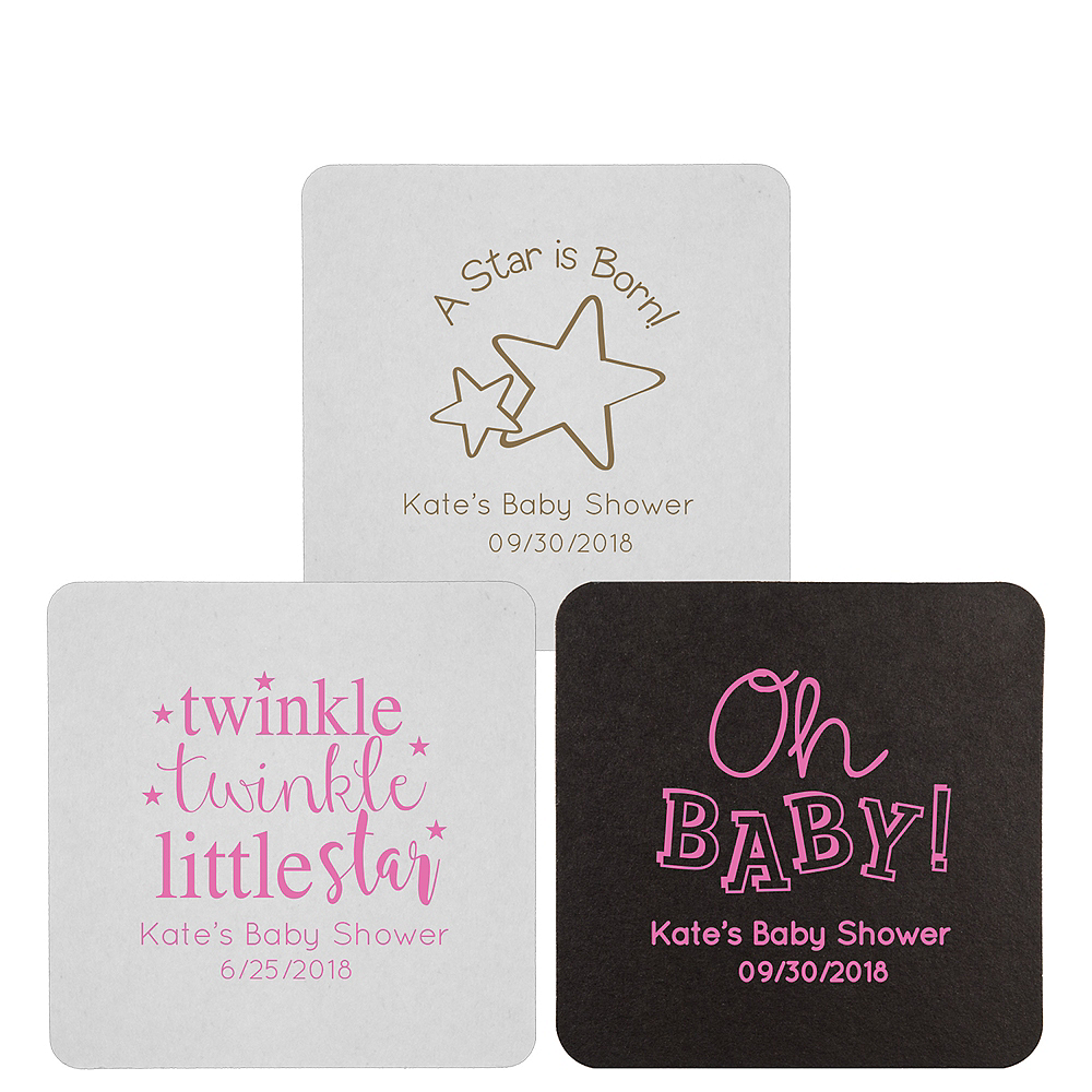 Personalized Baby Shower 40pt Square Coasters Image #1