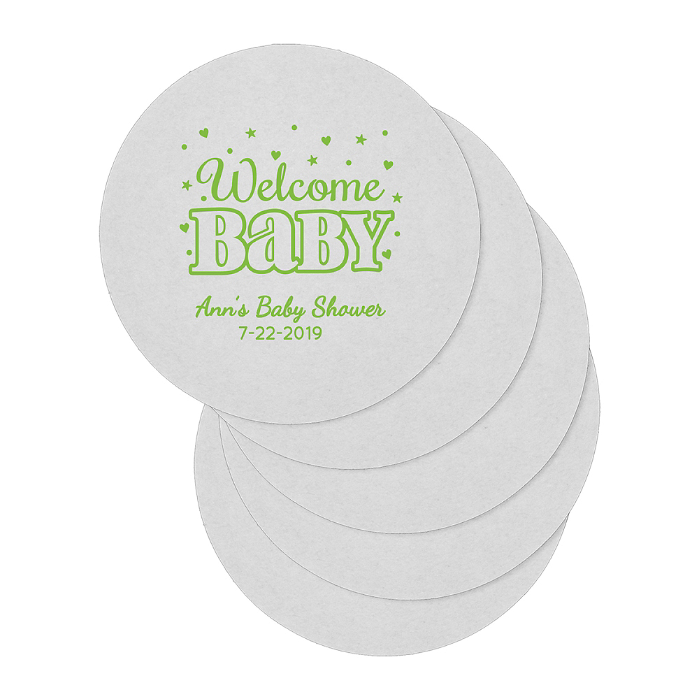 Personalized Baby Shower 80pt Round Coasters Image #1