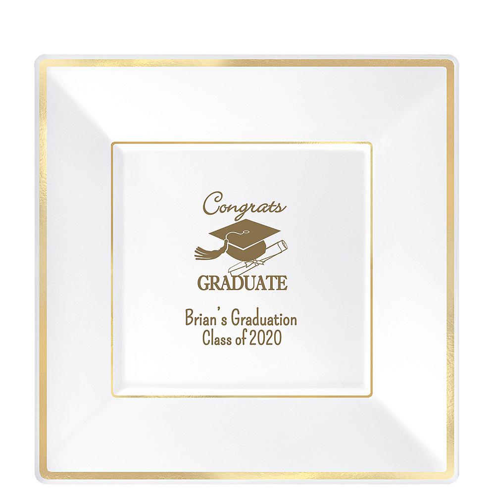 Personalized Graduation Premium Square Trimmed Dinner Plates  Image #1