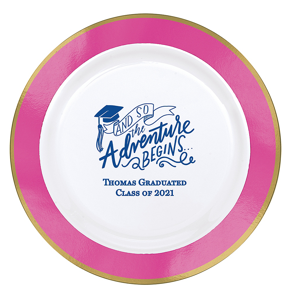 Personalized Graduation Premium Round Trimmed Dinner Plates    Image #1