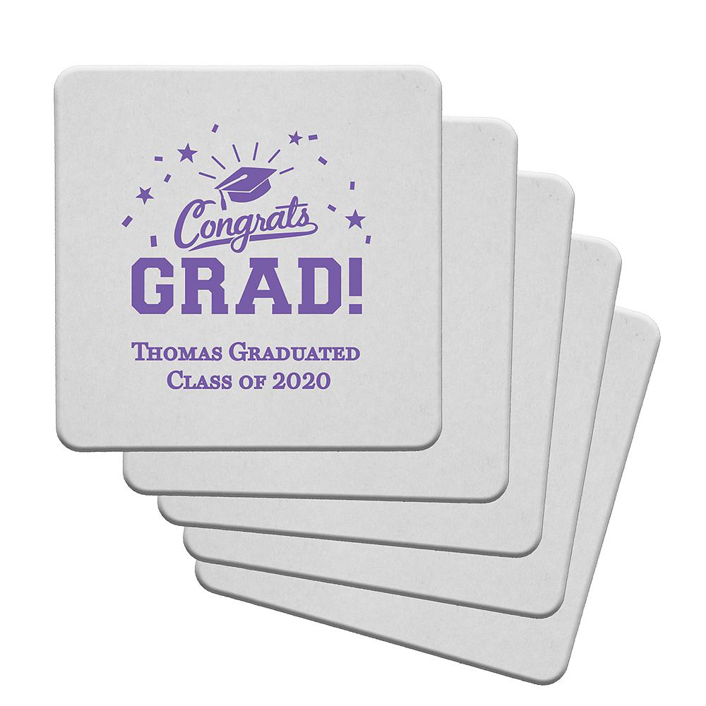 Personalized Graduation 40pt Square Coasters Image #1