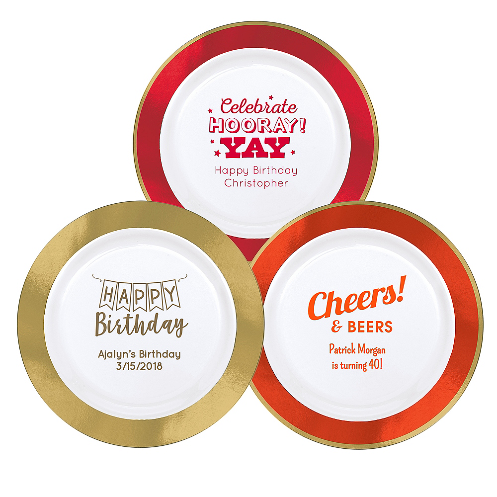 Personalized Birthday Premium Round Trimmed Dinner Plates Image #1