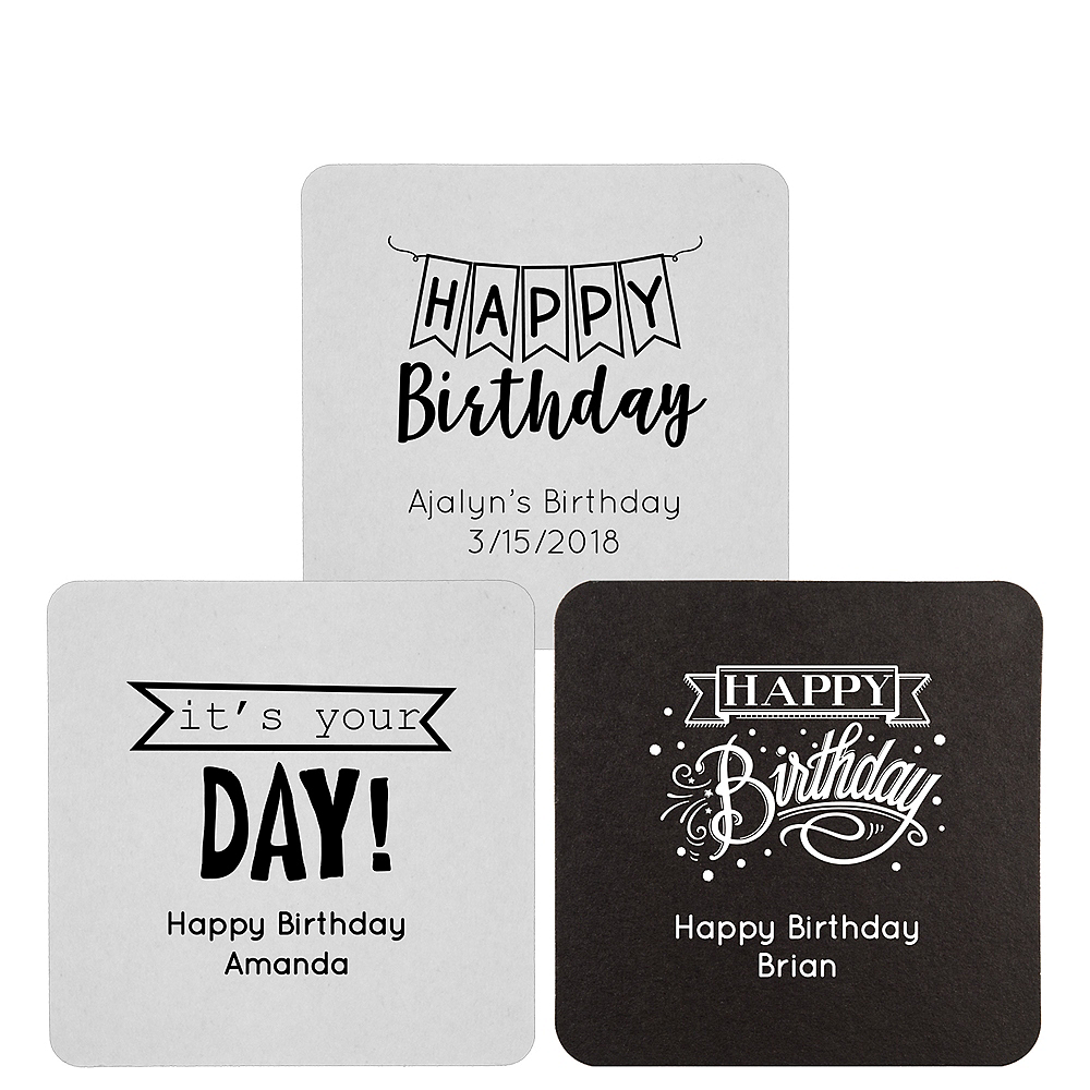 Personalized Birthday 40pt Square Coasters Image #1