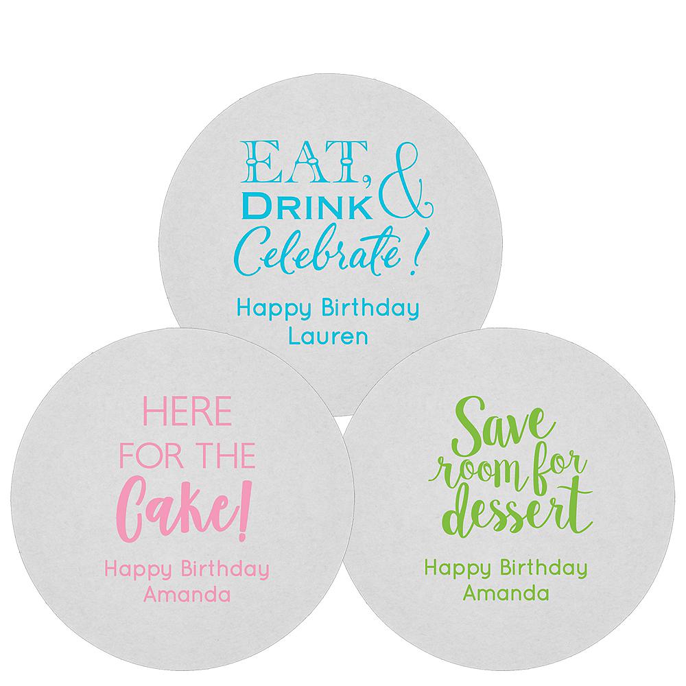 Personalized Birthday 80pt Round Coasters Image #1