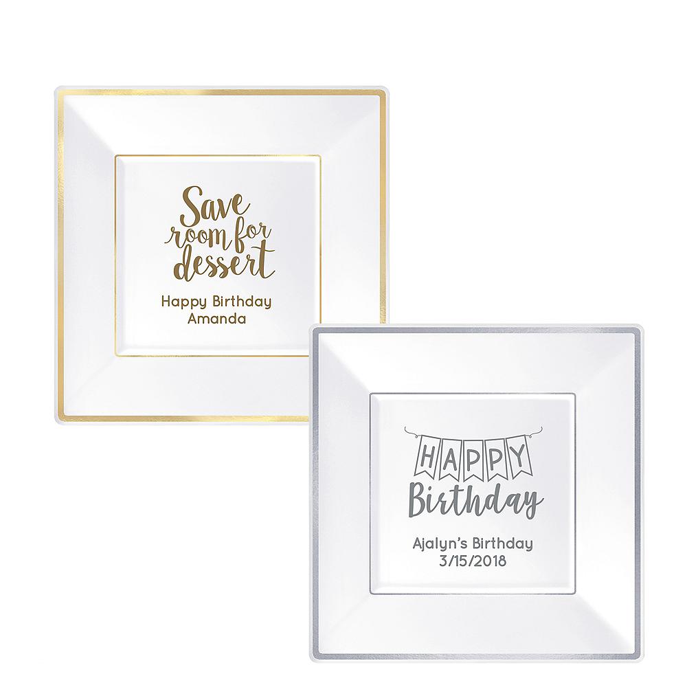 Personalized Milestone Birthday Premium Square Trimmed Dinner Plates Image #1