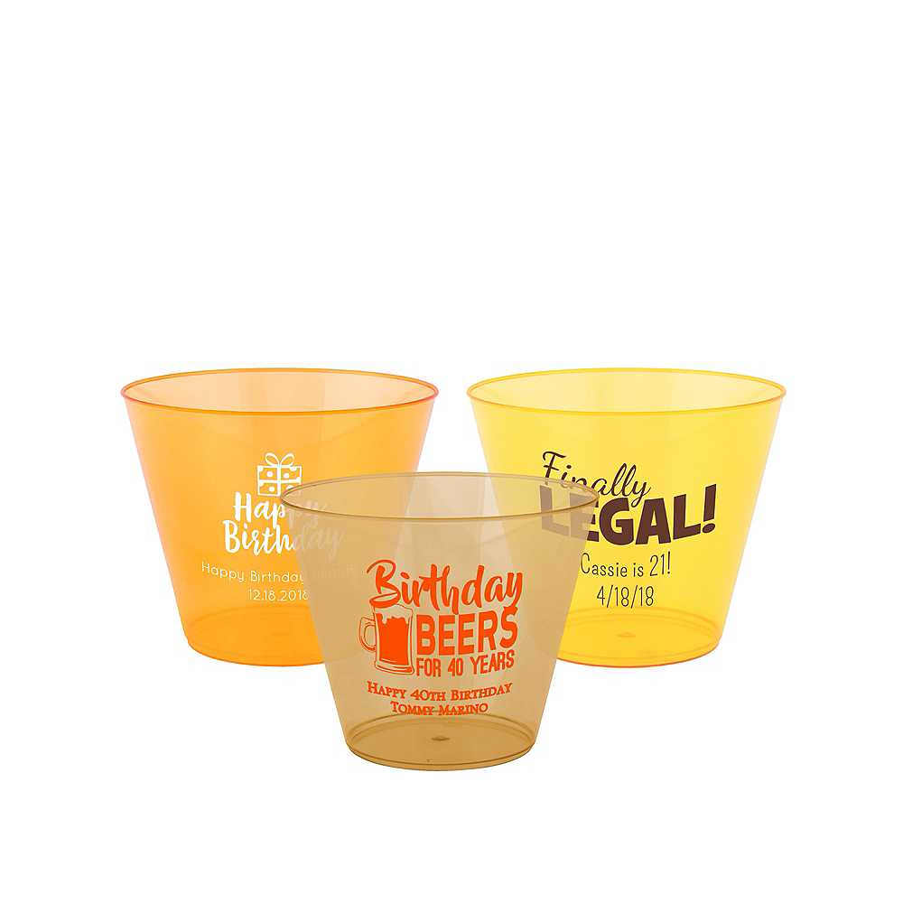 Personalized Milestone Birthday Hard Plastic Color Cups 9oz Image #1