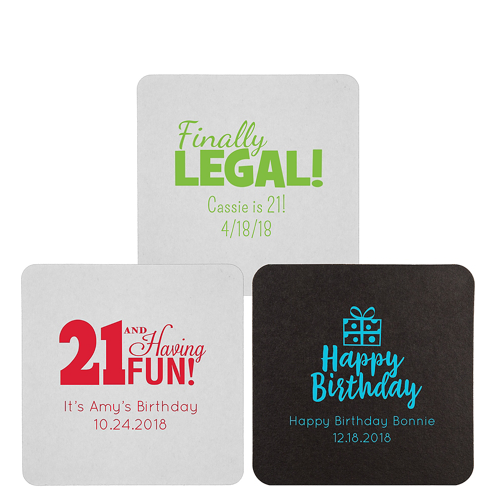 Personalized Milestone Birthday 40pt Square Coasters Image #1
