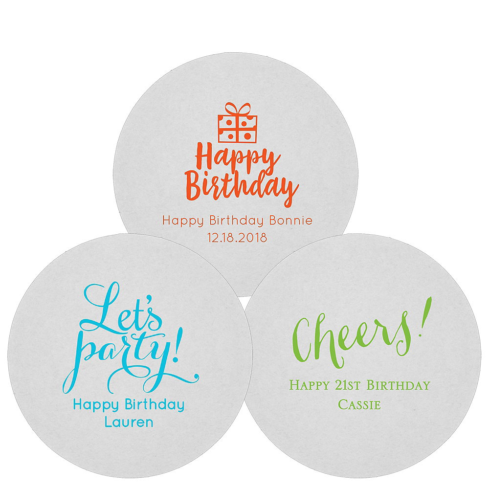 Personalized Milestone Birthday 80pt Round Coasters Image #1