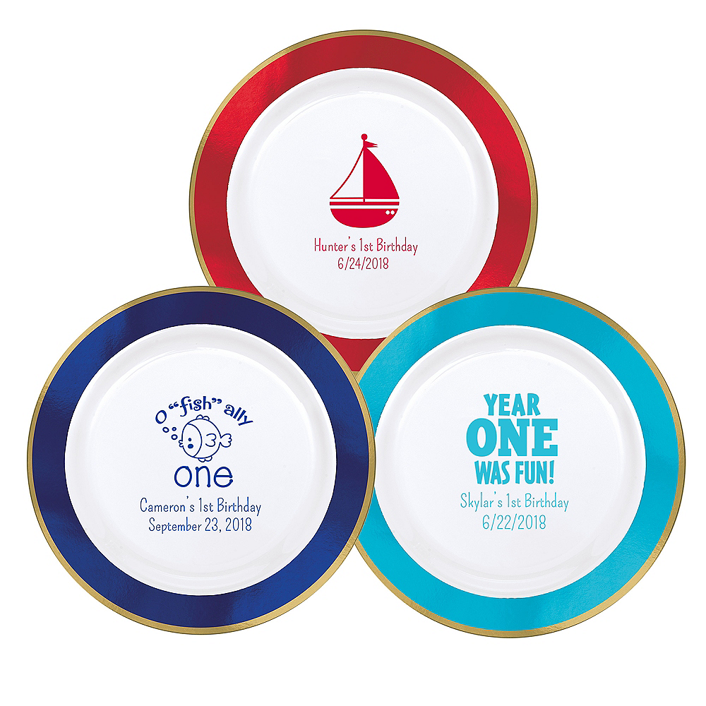 Personalized 1st Birthday Premium Round Trimmed Dinner Plates Image #1