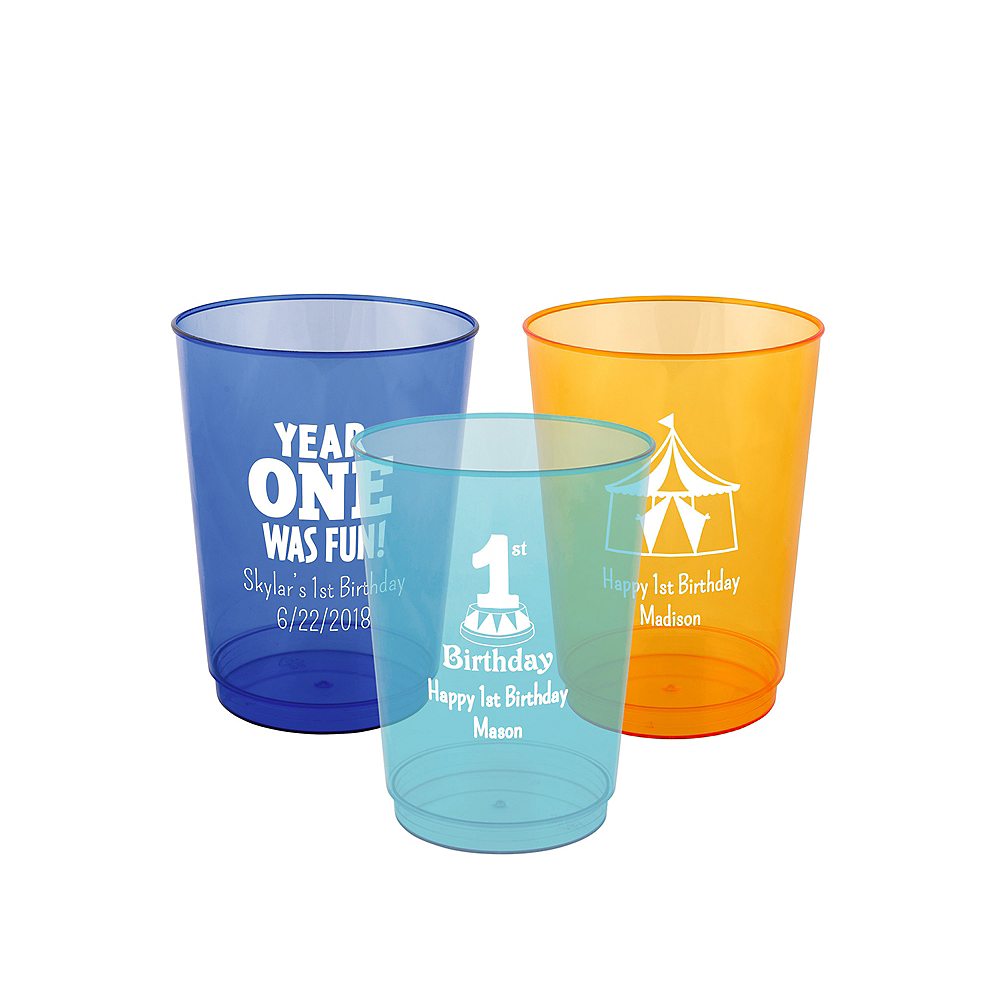 Nav Item for Personalized 1st Birthday Hard Plastic Color Cups 10oz Image #1