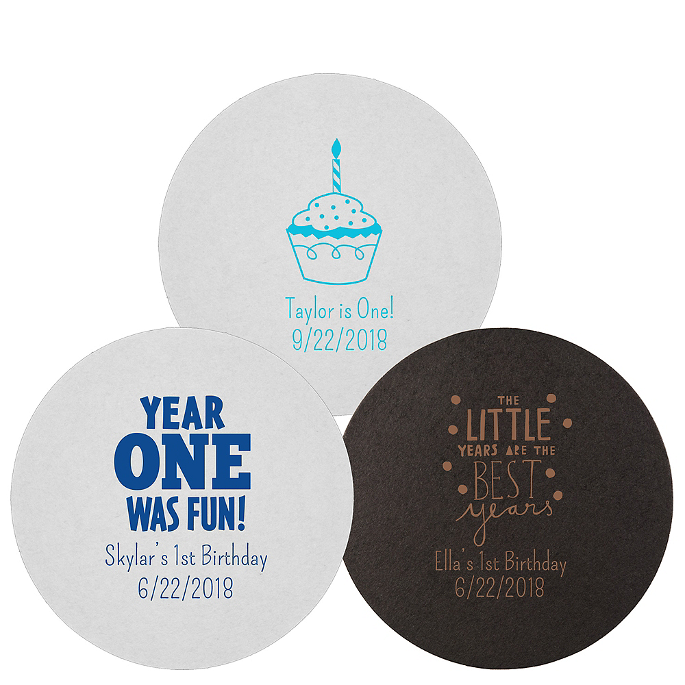 Personalized 1st Birthday 40pt Round Coasters Image #1
