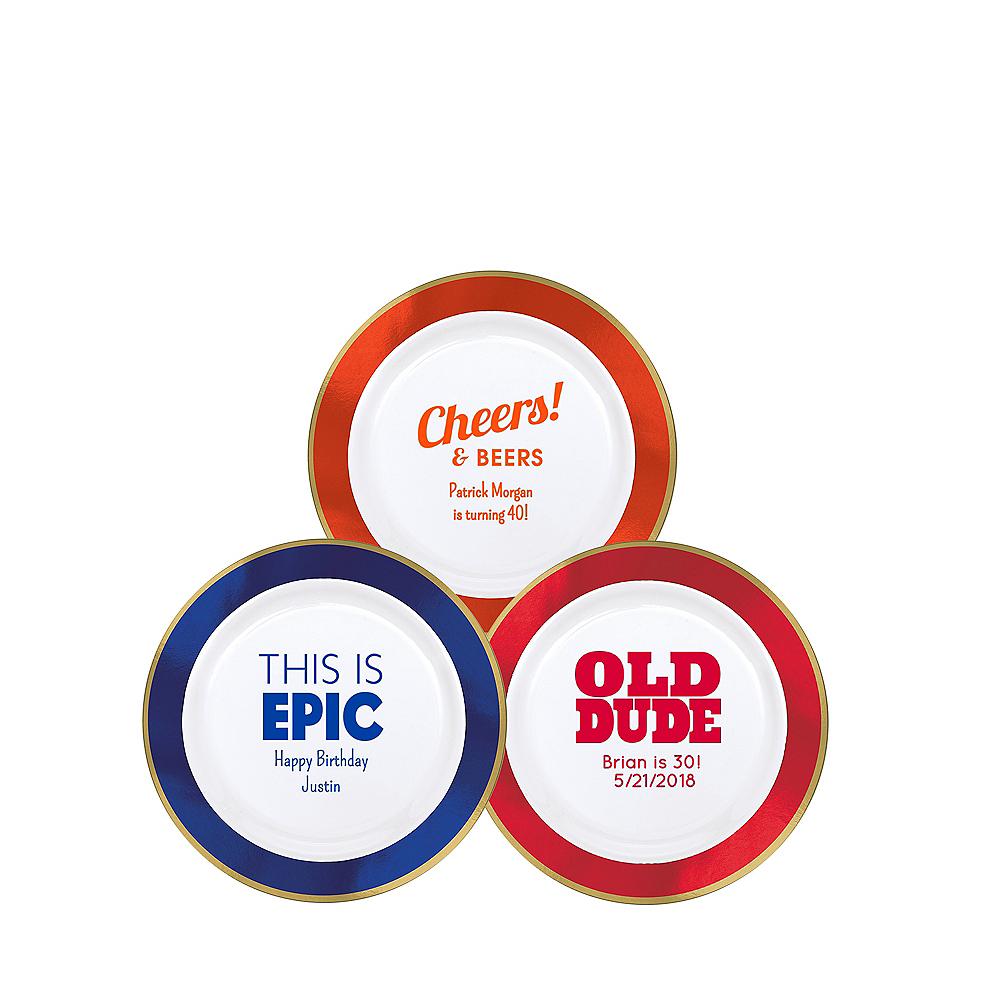 Personalized Boys Birthday Premium Round Trimmed Dessert Plates Image #1