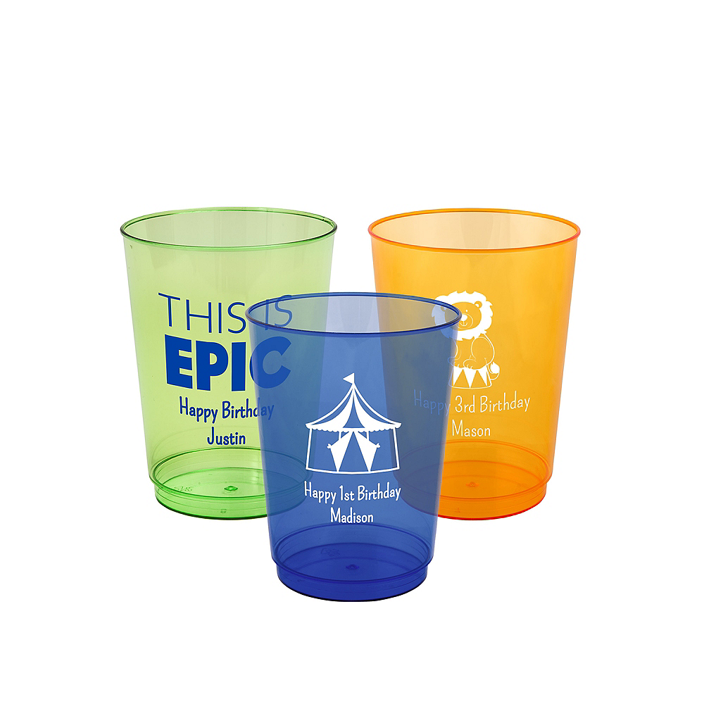 Personalized Boys Birthday Hard Plastic Color Cups 10oz Image #1