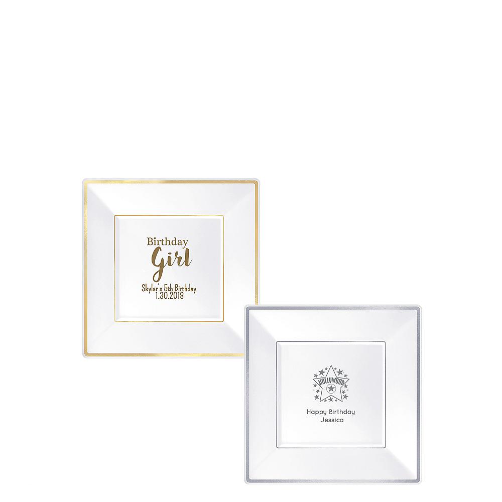 Personalized Girls Birthday Premium Square Trimmed Dessert Plates Image #1