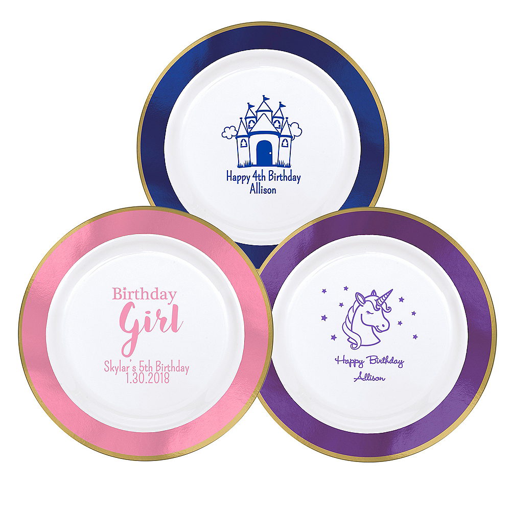 Nav Item for Personalized Girls Birthday Premium Round Trimmed Dinner Plates Image #1