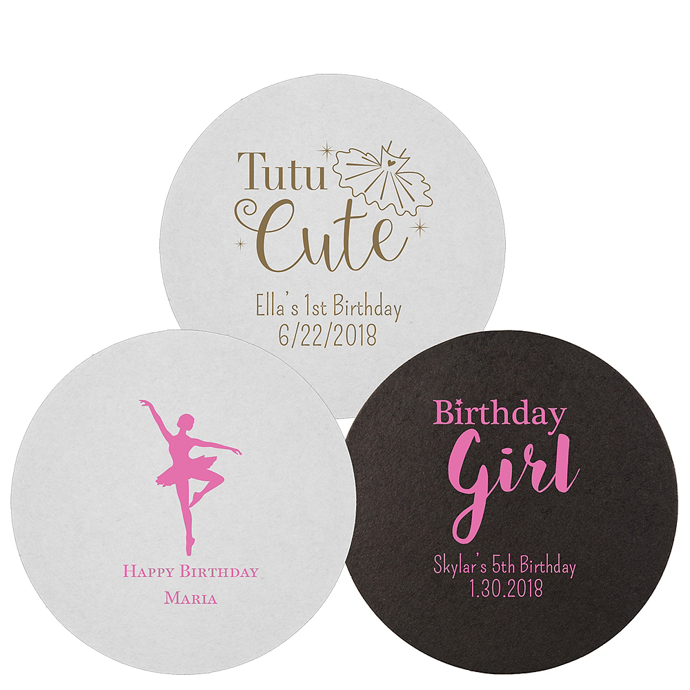 Personalized Girls Birthday 40pt Round Coasters Image #1