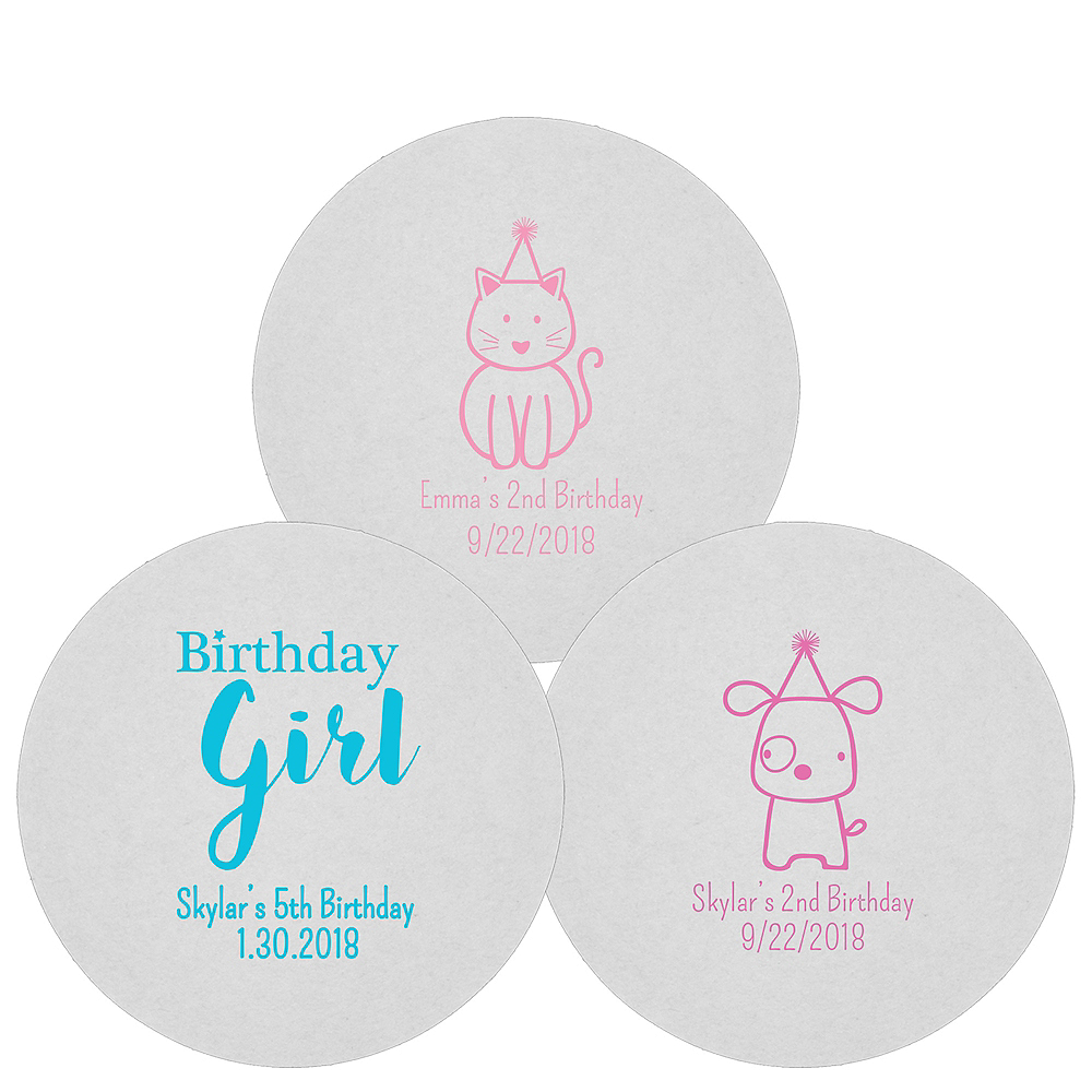 Personalized Girls Birthday 80pt Round Coasters Image #1