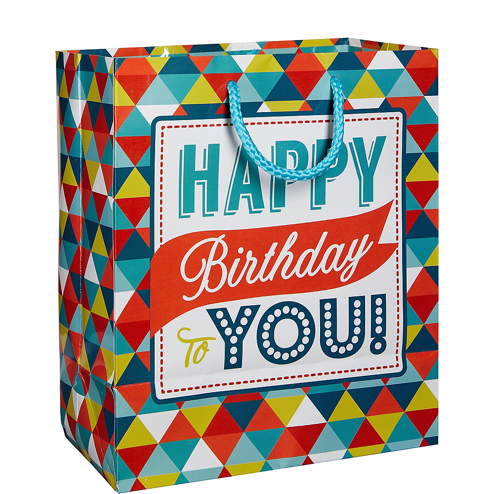 Colorful Triangles Birthday Gift Bag Image #1
