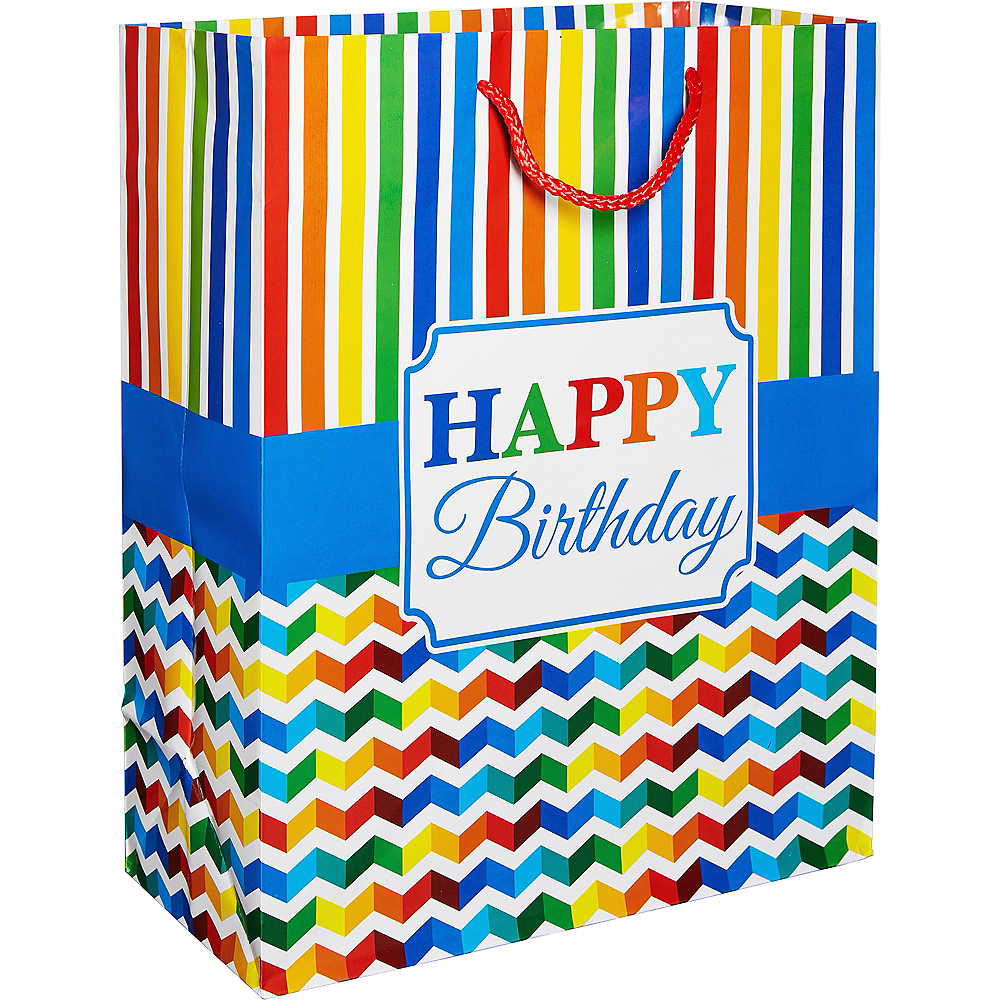 Rainbow Chevron Birthday Gift Bag Image 1