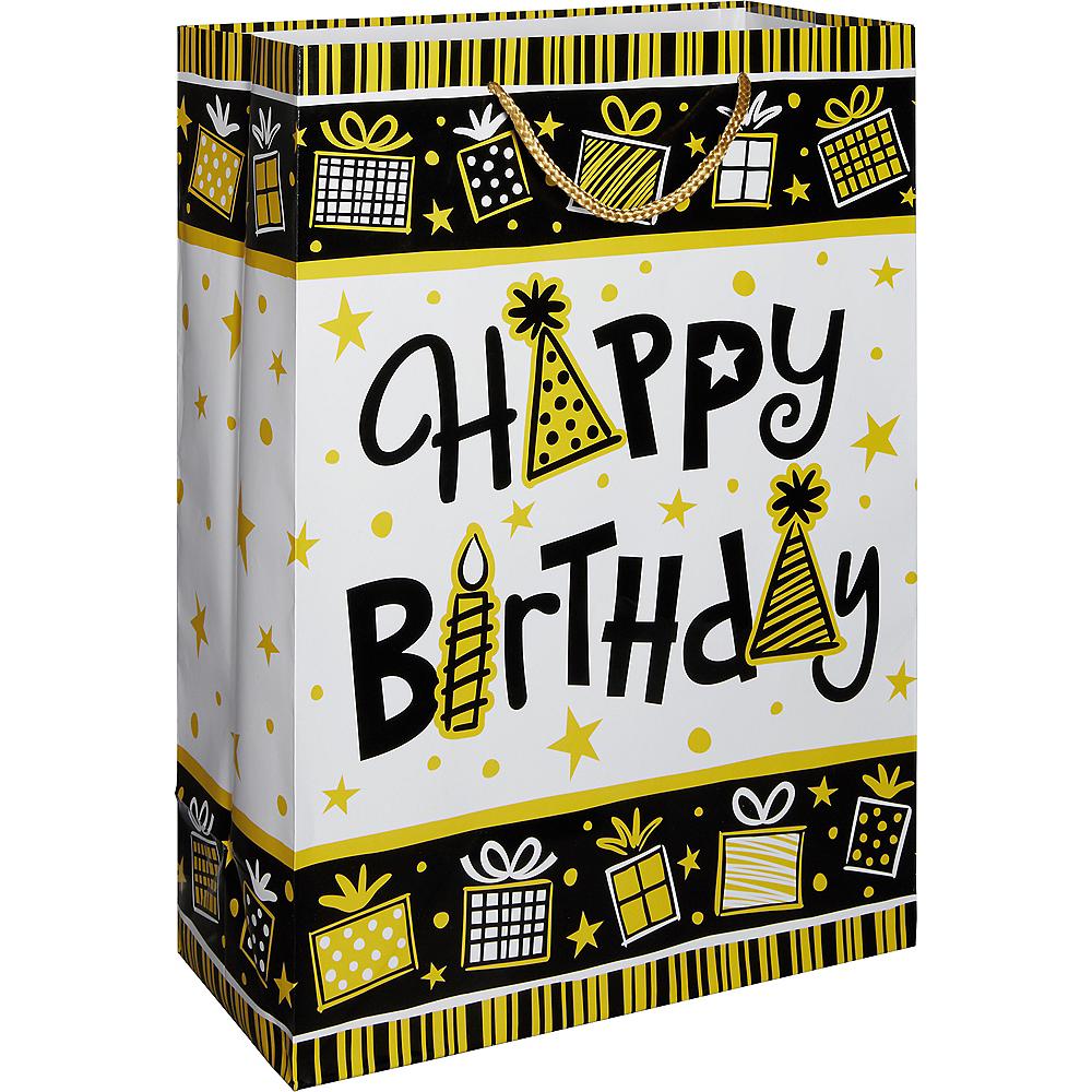 Black & Yellow Happy Birthday Gift Bag Image #1