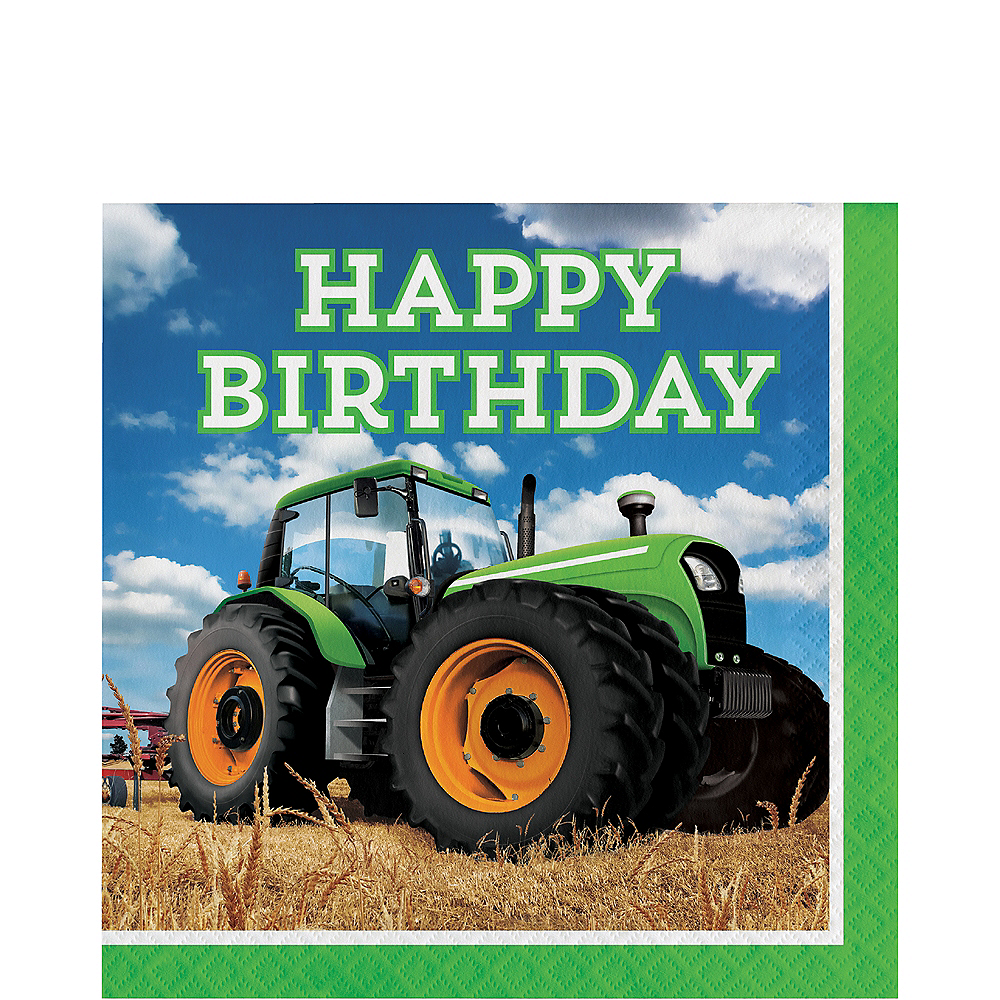 Tractor Happy Birthday Lunch Napkins 16ct Image #1