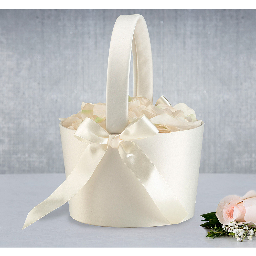 Cream Flower Girl Basket Image #1