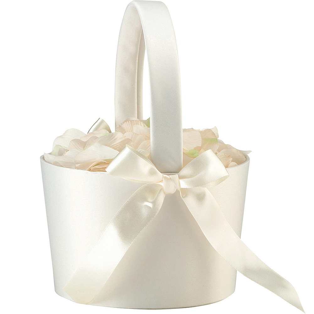 Cream Flower Girl Basket Image #2